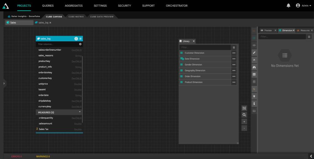 Semantic Layer Additional Dimensions Screen